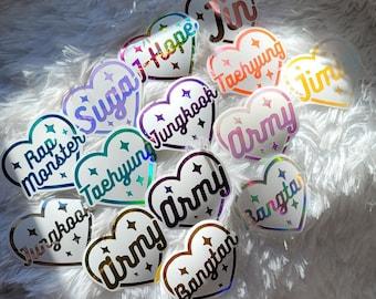 BTS Bias Sticker heart Decal Vinyl Sticker  BT21 K-pop  Bangtan BTS Fan for Army Bomb Light Stick Car Window Yeti Laptops Macbook