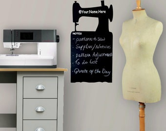 Personalised 'Chalkboard' Sewing Machine Vinyl Wall Decal, Craft Room Accessory Decoration Gift