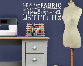 Sewing Word Art Vinyl Wall Decal Decoration for Stitching Quilting & Sewing Room Accessory Gift