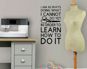 Motivational Inspirational Quote Wall Decal Decoration for Craft Sewing Room Accessory Gift