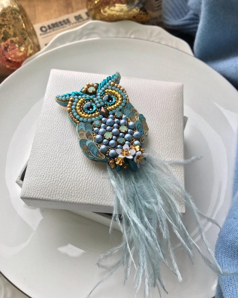 blue bird gift animals bird with feathers handmade beautiful bird Brooch owl