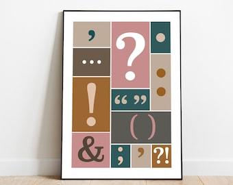 English Grammar - Punctuation Art  |  Educational Poster, Classroom Poster | Digital Download