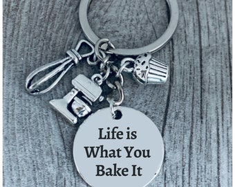 I Came I Saw I Frosted Keychain Baking Personalized Cupcake keychain optional initial disc cupcake charm Baker/'s keychain Baker/'s gift