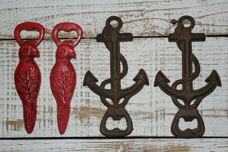 Cast Iron Adult Stocking Stuffers Tropical Theme  Parrot Anchor Beer Bottle Openers  Ready For You to Customize Names  Dates  Initials