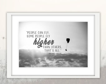 Black and White Paragliding Photography Downloadable Print, Nature Modern Large Wall Art Home Decor Printable, Sky, clouds Art, quotes
