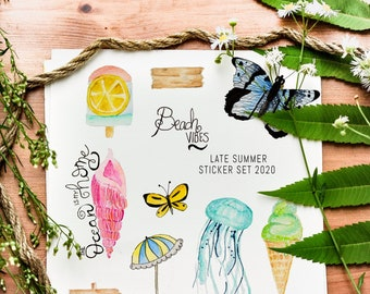 Sticker Sheet Printable - Late summer, beach vibes | Bullet Journal Stickers, Planner Stickers, Scrapbook Stickers, Fall Stickers