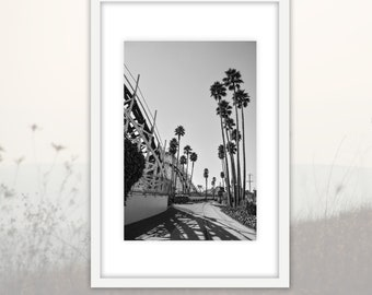 Black and White Santa Cruz Beach Boardwalk Photography Downloadable Print, Santa Cruz Modern Large Wall Art Home Decor Printable, California