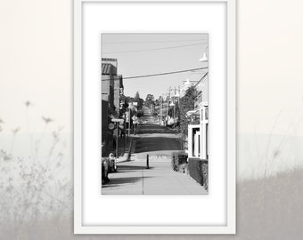 Black and White Cannery Row Photography Downloadable Print, Monterey Street Modern Large Wall Art Home Decor Printable, California Art
