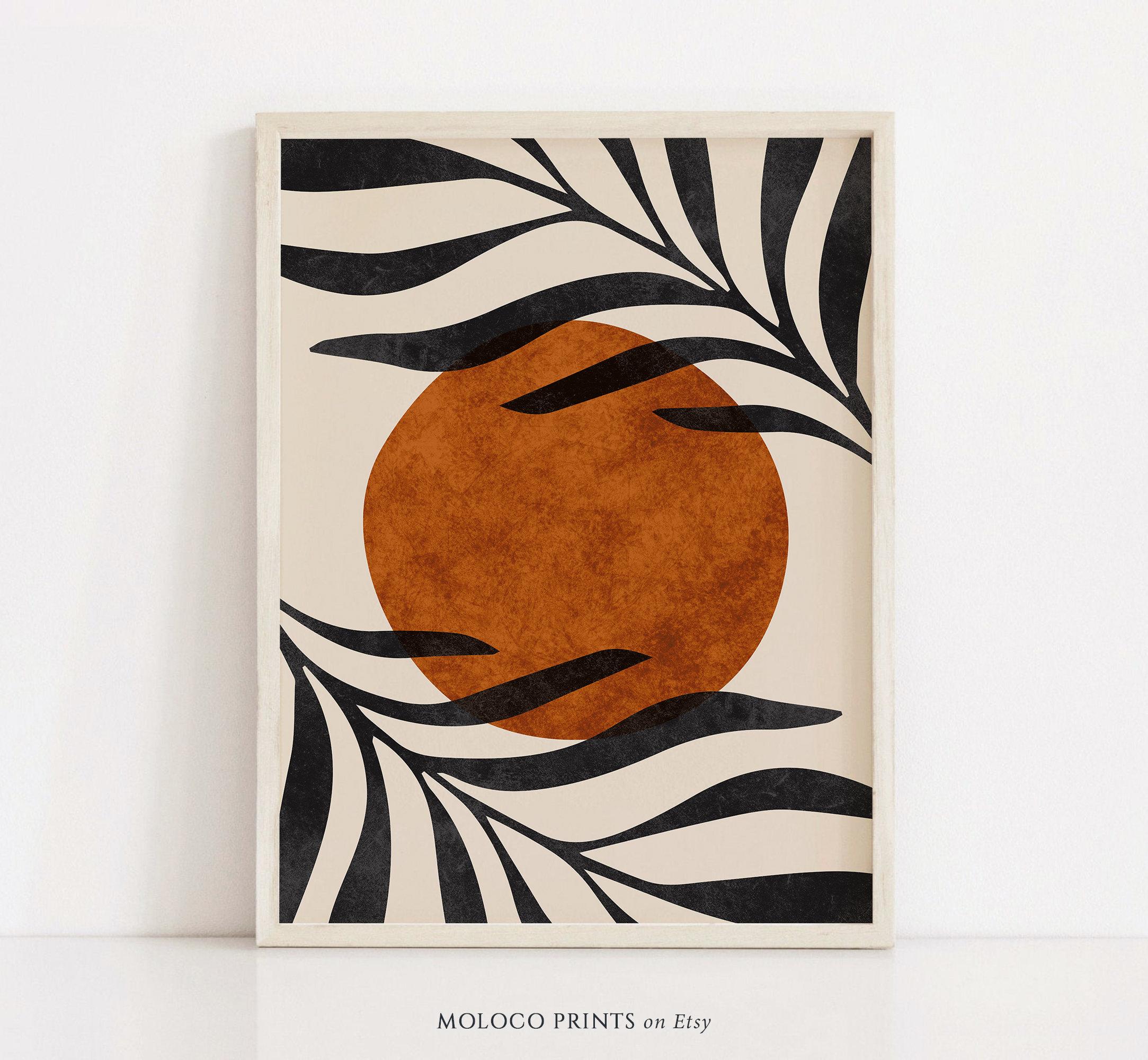 Abstract Boho Leaf Art Print, Printable Wall Art, Neutral Boho Decor,  Instant Digital Download, Minimalist Botanical, Mid Century Modern Art