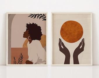 Set of 2 Prints, Black Woman, African American Art, Digital Print, Boho Decor, Female Portrait, Black Girl Magic, Afrocentric Art, Feminist