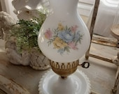 Absolutely Precious Vintage Shabby Cottage Farmhouse Floral Flowers Milk Glass Lamp