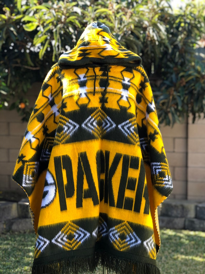 Green Bay Packers poncho alpaca wool handcrafted American Football  poncho