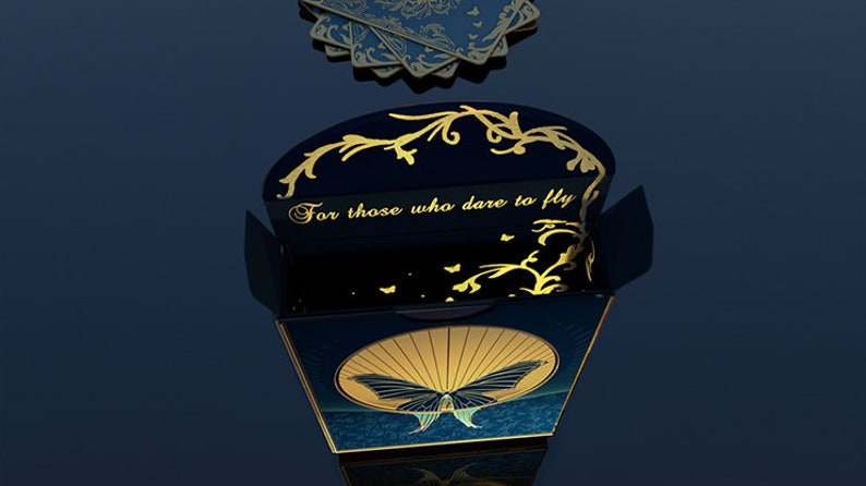 Gold ink on 52 Poker size cards Beautifully engraved butterfly coin Alis Luminis The Winged Playing Cards Deck