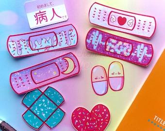 Pop Pastel Menhera Bandaid Sticker Set (9 or 18 pieces) - Matte, Gloss or Vinyl Handmade Stickers