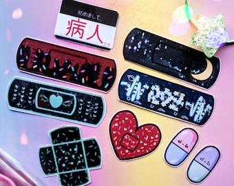 Dark Menhera Bandaid Sticker Set (9 pieces) - Matte Handmade Stickers