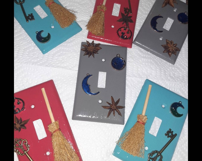 Crafty Light Switch Wall Plate Covers | Home Decor | Light Switch Covers | Red Light Switch Covers | Gray Light Switch Covers