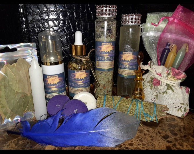 Amethyst Goddess Bath | Spiritual Bath | Intention Bath | Manifestation Bath | Crystal Bath Soaks | Spa Kit | Gift Set | Self Care Kit