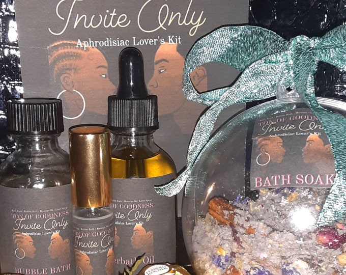 """Couples Gift Set   Wedding Gift   Anniversary Gift   Bachelorette / Bachelor Party Gift   """"Invite Only"""" Aphrodisiac Lovers Kit   Adult Fun"""
