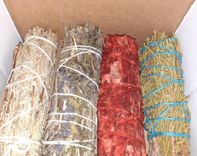 Sage Kit | Smudge Kit | Blue Sage | Lavender Stick | Dragon's Blood Sage| Juniper Stick |Spiritual Cleanse Kit | Smoke Kit | Intention Kit