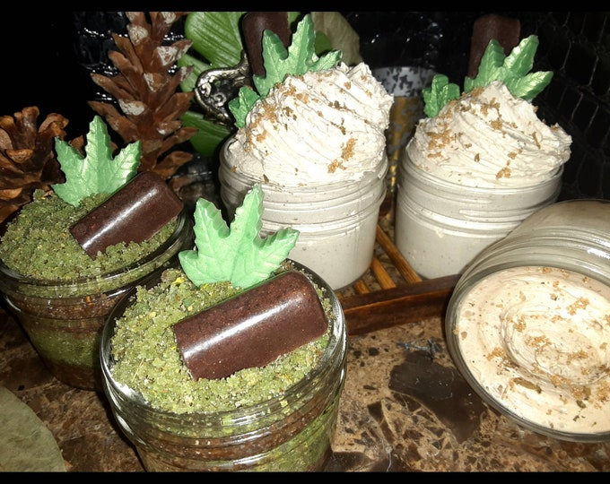 Chocolate Body Scrub | Mint Chocolate Sugar Scrub & Whipped Body Butter Set | Gift Set | Holiday Gift Set | Unisex Gifts