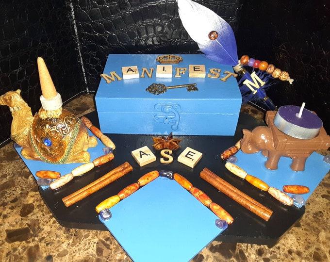 Manifestation Station | Aśe Decor | Incense Burner |  Mini Altar | Altar Tools | Spiritual Tools | Wand | Herbs | Spiritual Candles | Aśe