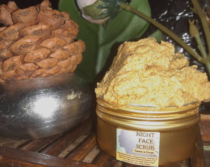 Turmeric Face Products | Turmeric & Orange Face Sugar Scrub (Combat Dark Spots, Acne, Wrinkles, and Uneven Skintone).
