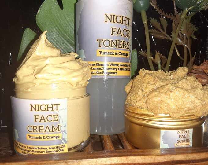 Turmeric and Orange Night Face Set   Turmeric Face Products   Fade Dark Spots, Wrinkles, Uneven Skin Tone, & Acne   Turmeric Gift Set