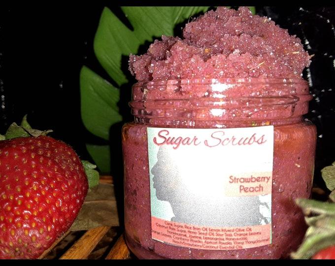 Strawberry Sugar Scrub   Peach Sugar Scrub   Strawberry Peach Sugar Scrub   Gentle Exfoliants   Mother's Day Gift   Gift for Her