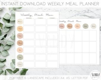 Printable Weekly Meal Planner, INSTANT DOWNLOAD, Weekly Menu Planner, Meal Planner Printable, Weekly Meal Plan, Minimalist Meal Planner