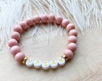 Pink Wood Bead Adjustable Bracelet