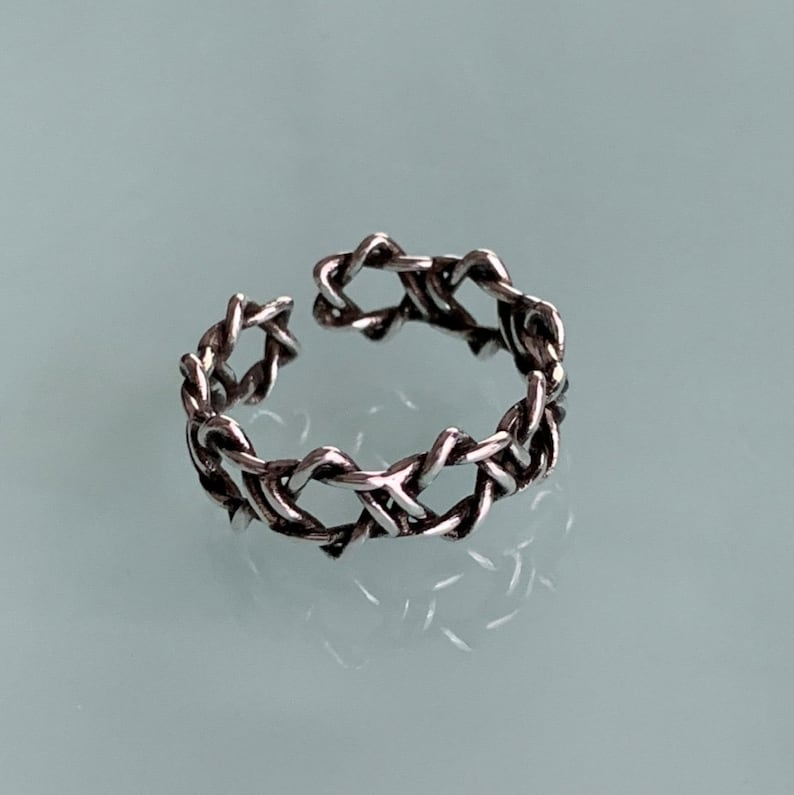 Open Ring Dainty Punk Gift Cute Goth Open-cut Star Pentagram Adjustable Ring | Minimalist Silver Korean Fashion Size 5-8