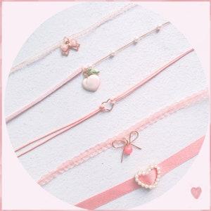 Pink velvet choker nymphet choker lolita choker kawaii choker sweet choker cute choker collar dainty choker necklace