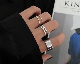 Wrap Rings Open Rings Organic Rings Boho Stacking Rings Set Silver Statement Rings Ring Set Stackable Rings Silver Set of Rings