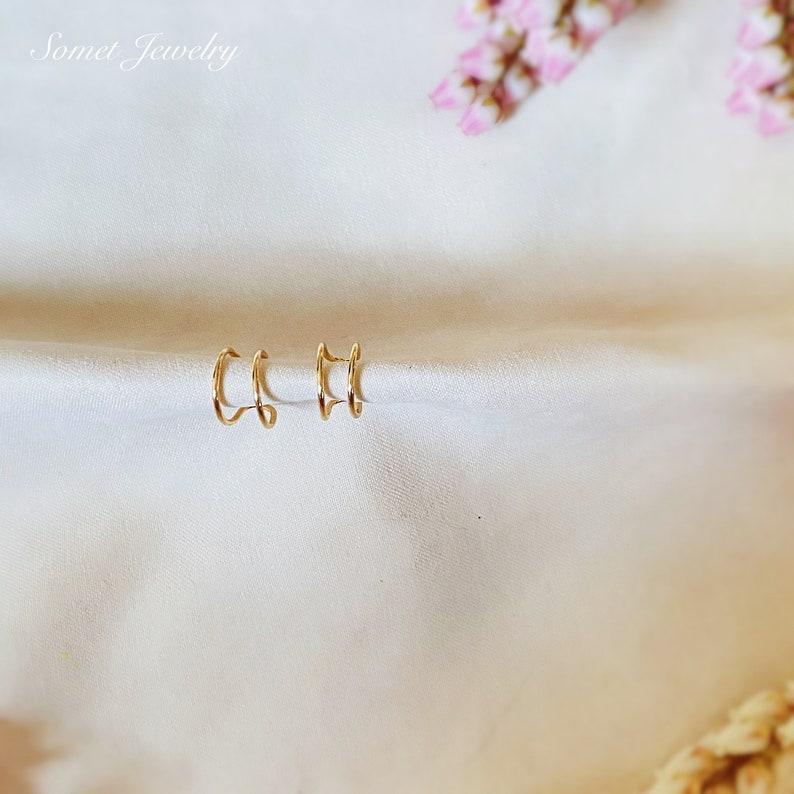 Simple Gold color Ear Cuffs Two Ear Cuffs Non pierced ear cuffs. Minimalist Ear Jackets