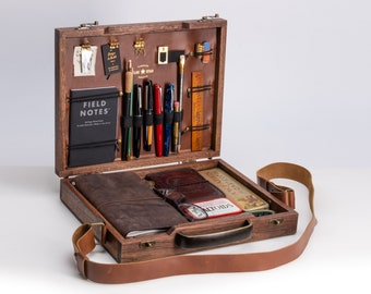 Wood Briefcase for writers. Handmade with walnut and leather. Carry your favorite writing tools and emphasize your classy and creative style