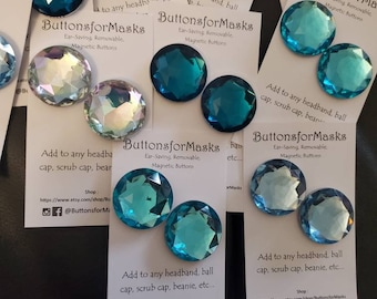 BLING ButtonsforMasks Ear-Saving, Removable, Magnetic Buttons