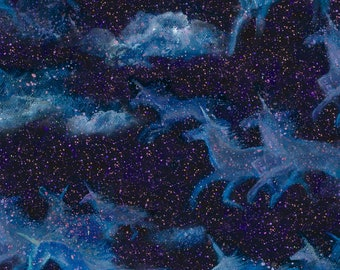 Digitally Printed Blue Borealis from the Celestial Journey Collection by 3 Wishes Fabric Sold in 12 yard increments
