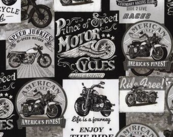 100/% Cotton Fabric Timeless Treasures Motorcycle Motorbike Club Road Warrior