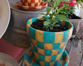 Painted Flower Pots, Terra Cotta Painted Flower Pot, 6inch, Checkered Flower Planter, Outdoor Decor,  Whimsical Flower Pot,