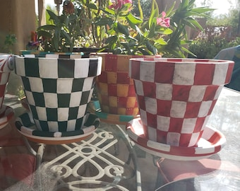 """Painted Terra Cotta Flower Pot, 6"""" Painted Planter, 6inch Checkered Flower Pot, Outdoor/Indoor Decor, Bespoke, Hand Painted,"""