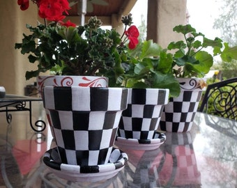 """4"""" Checkered Planter, Painted Herb Pot, Terra cotta flower pot, Checkered Lip and Base, Indoor Outdoor Decor, Whimsical Planter"""