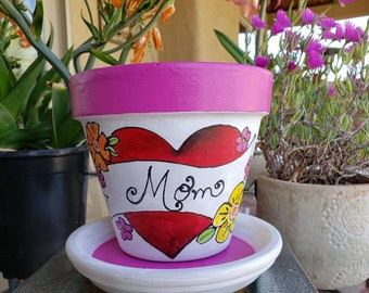 Mothers Day Painted Flower Pot, Terra Cotta Painted Flower Pot, 6inch, Heart Flower Planter, Indoor or Outdoor Decor,  Whimsical