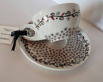 Painted Coffee Cup, Tea Cup, Unique Gift, Custom, Hand painted coffee cup, Hand painted, Matching Saucer
