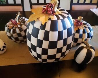 Hand painted Checkered XLarge Pumpkin with embellishment, Black & White Checkered Pumpkin, Whimsical Pumpkin, Halloween Decor