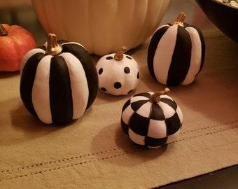 Hand painted Checkered Pumpkin grouping, Black & White Checkered Pumpkin, Whimsical Pumpkin, Halloween Decor