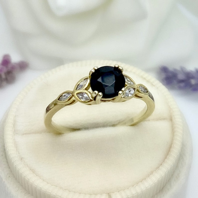 Round Cut Black Onyx 14K Yellow Gold Marquise Simulated Diamond Engagement Ring Art Deco 0.80Ct Natural Black Onyx Wedding Promise Ring