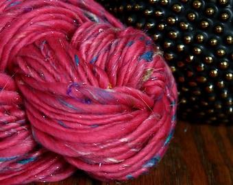 Handspun art yarn bulky wool yarn OUT WEST garden party fibers merino wool kid mohair big 105 yd skeins  appx 8 oz so soft