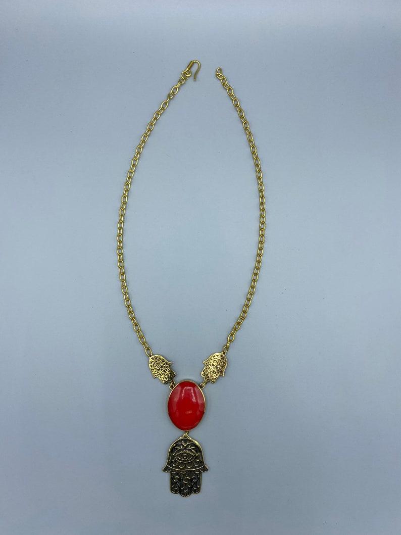 Hamsa hand bright red stone necklace