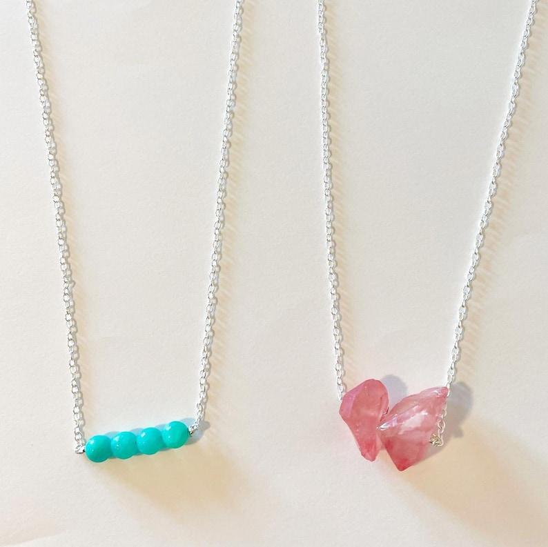 gold or silver chain y2k necklace boho hippie necklace pink quartz necklace blueturquoise bead necklace Crystalbead chain necklace