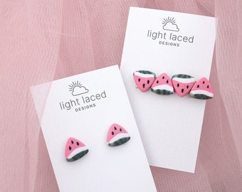 WATERMELON SUGAR | Clay Stud Earrings and Hair Clips | Minimal | Summer | Fruit | Food | Gift for Her